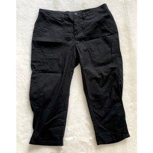 Cotton Black Capri Cargo Pants